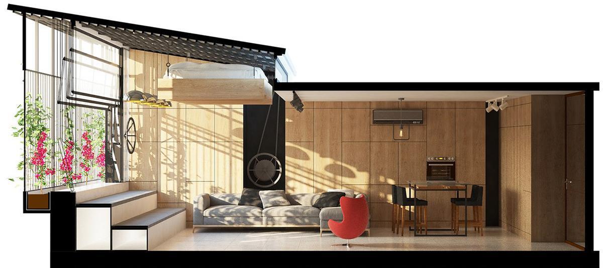 thiết kế nhà có giường treo