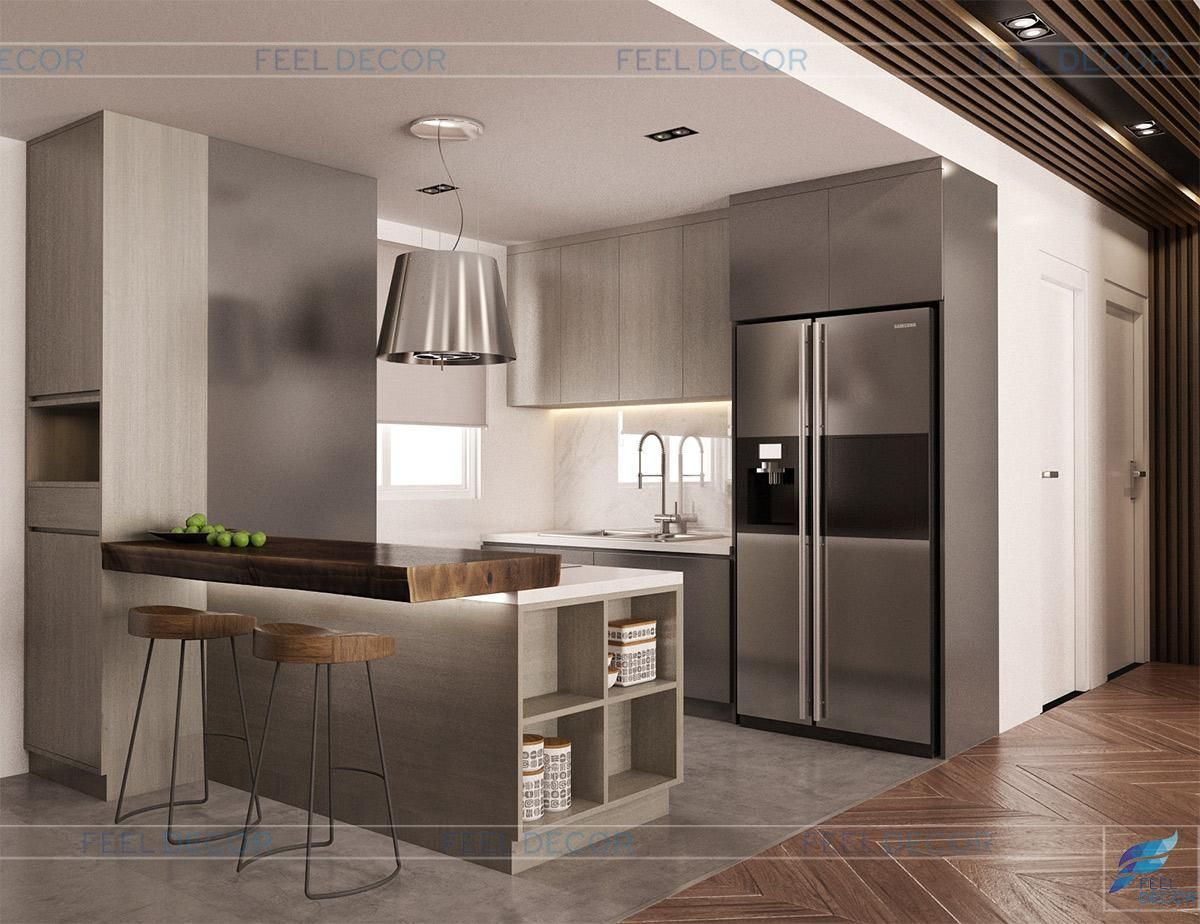 Thiết kế thi công nội thất phòng khách - bếp căn hộ 95m2 chung cư The Botanica