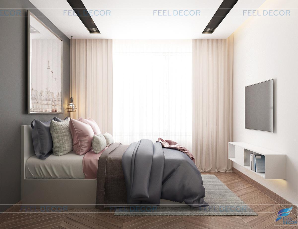 Thiết kế thi công nội thất phòng ngủ Master căn hộ 95m2 chung cư The Botanica