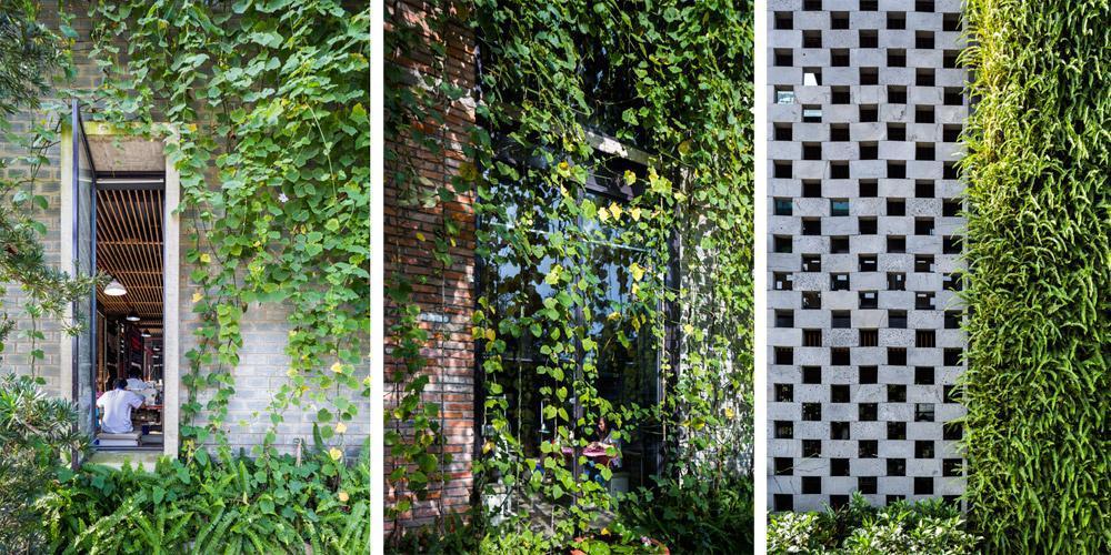 Mặt tiền của tòa nhà sử dụng các viên đá ong xếp đặt chồng lên nhau, tạo khoảng thông gió cho toàn bộ không gian bên trong. Nhìn từ bên ngoài, công trình giống như các khách sạn nghỉ dưỡng cao cấp với vườn trên tường.