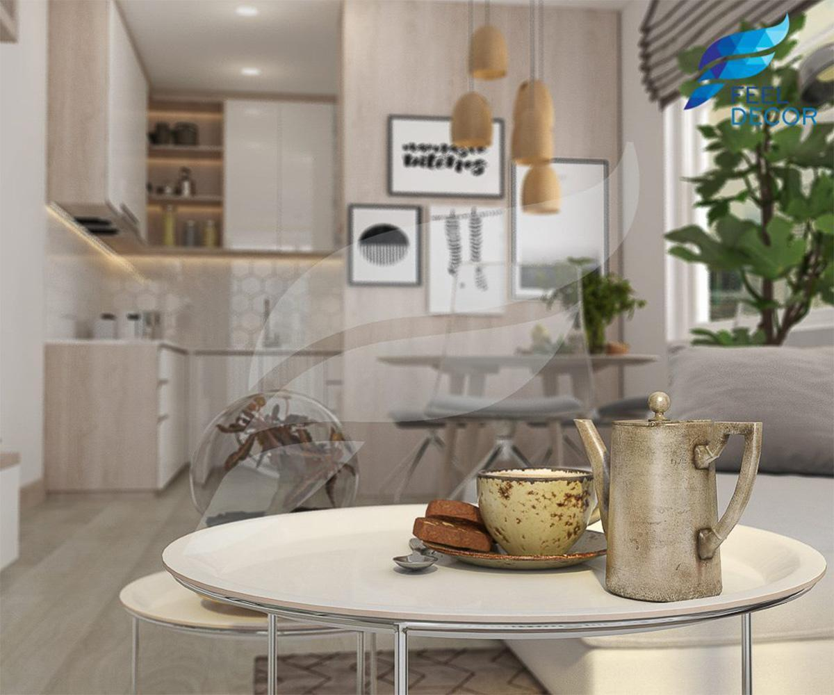Bản vẽ phối cảnh 3D mẫu thiết kế nội thất căn hộ 2 phòng ngủ (73m2) chung cư The Botanica