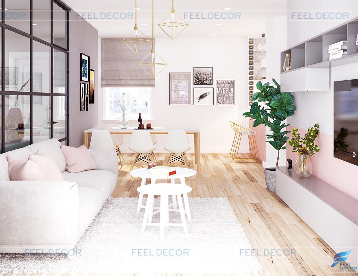 Thiết kế nội thất phòng khách căn hộ 119m2 chung cư Sky Center