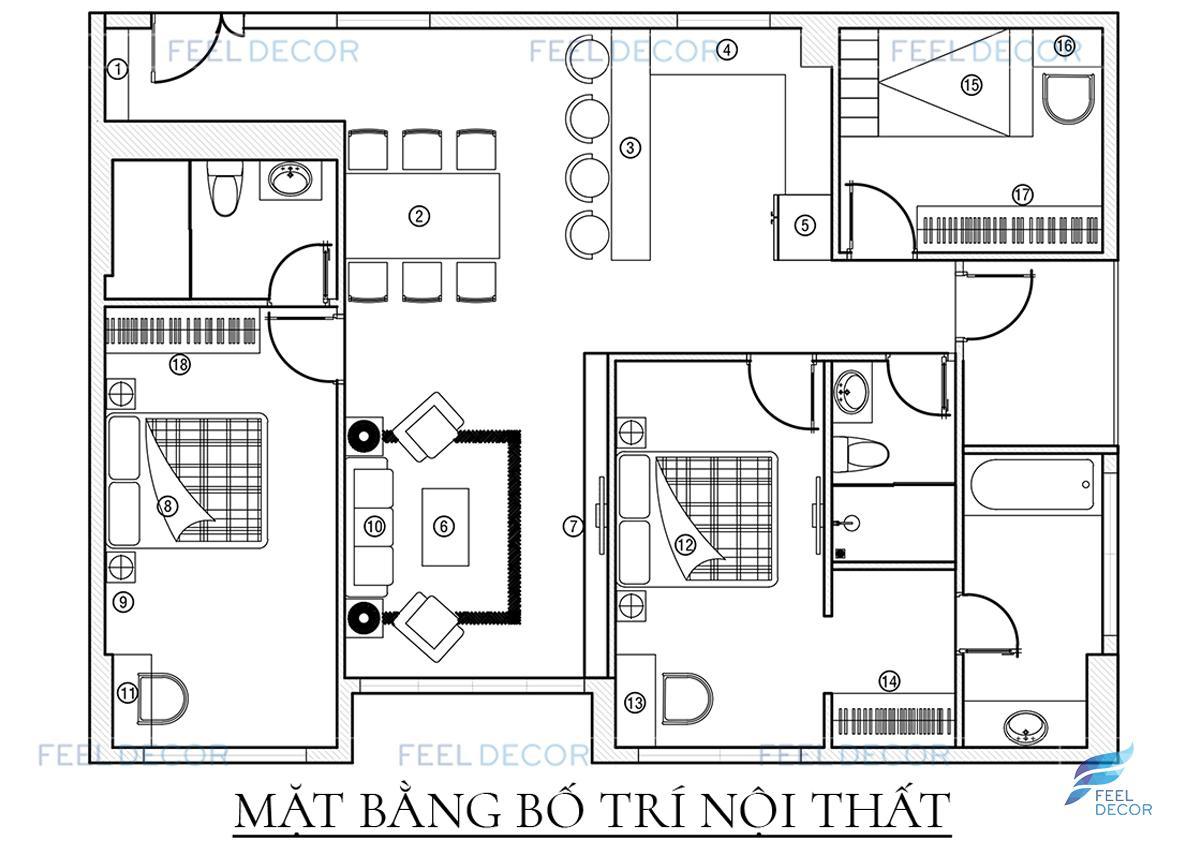 nội thất căn hộ 3 phòng ngủ 119m2 chung cư Sky Center