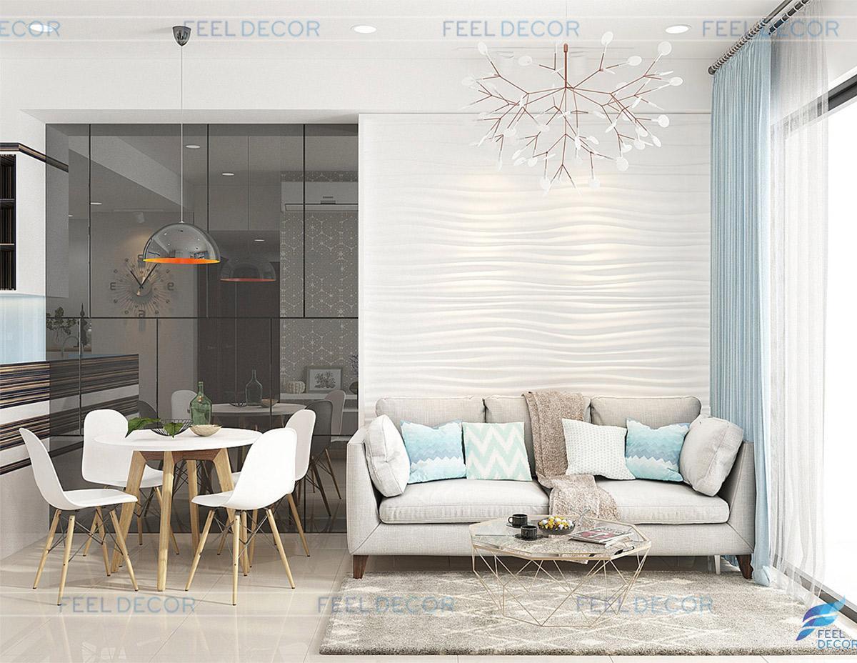 Thiết kế thi công nội thất phòng khách căn hộ 57m2 2 phòng ngủ