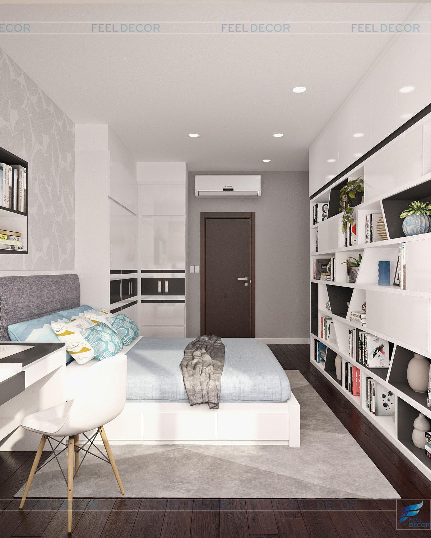 Thiết kế thi công nội thất phòng ngủ Master căn hộ 57m2 2 phòng ngủ
