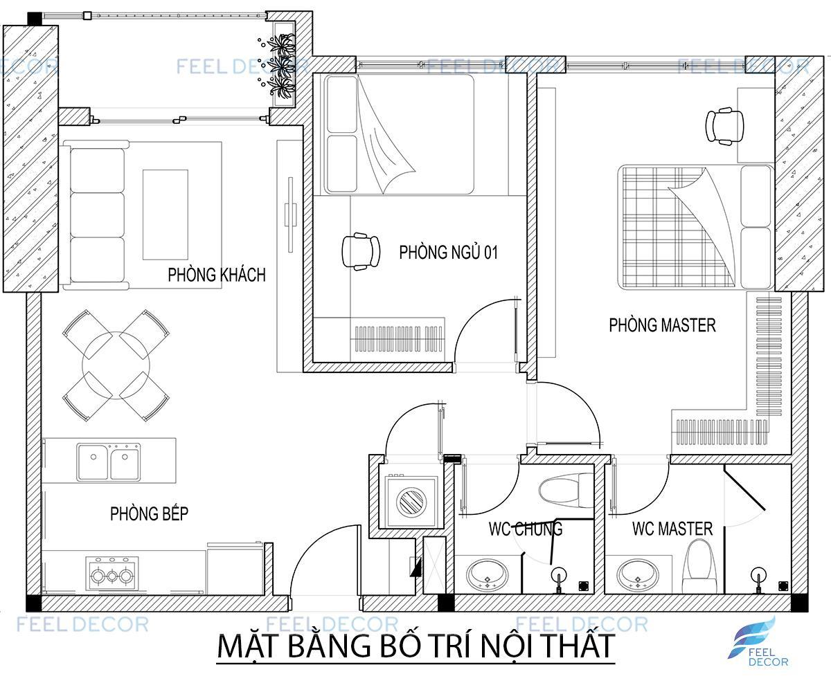 thiết kế nội thất căn hộ 67m2 chung cư The Tresor