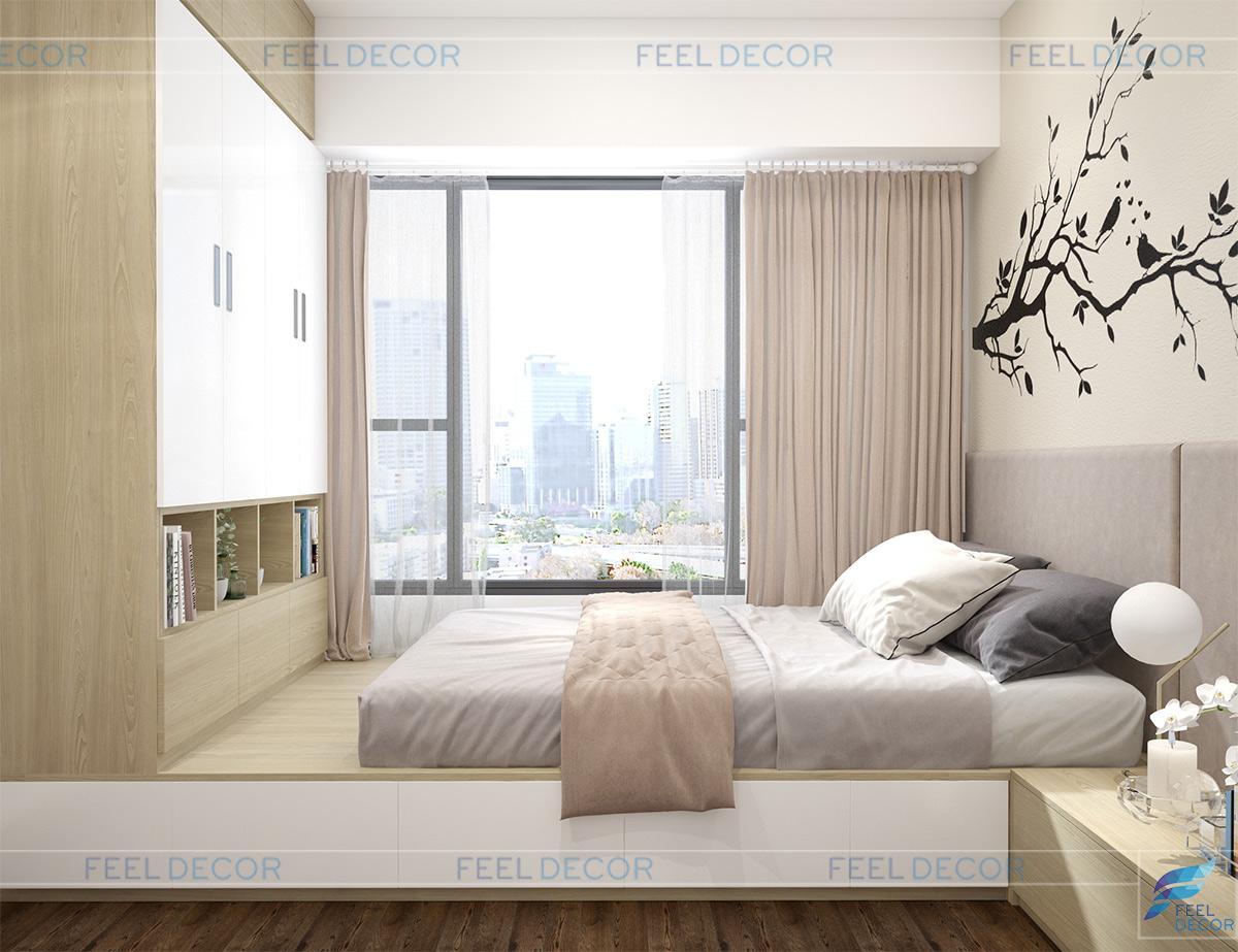 Thiết kế nội thất phòng ngủ Master 92m2 chung cư RiverGate