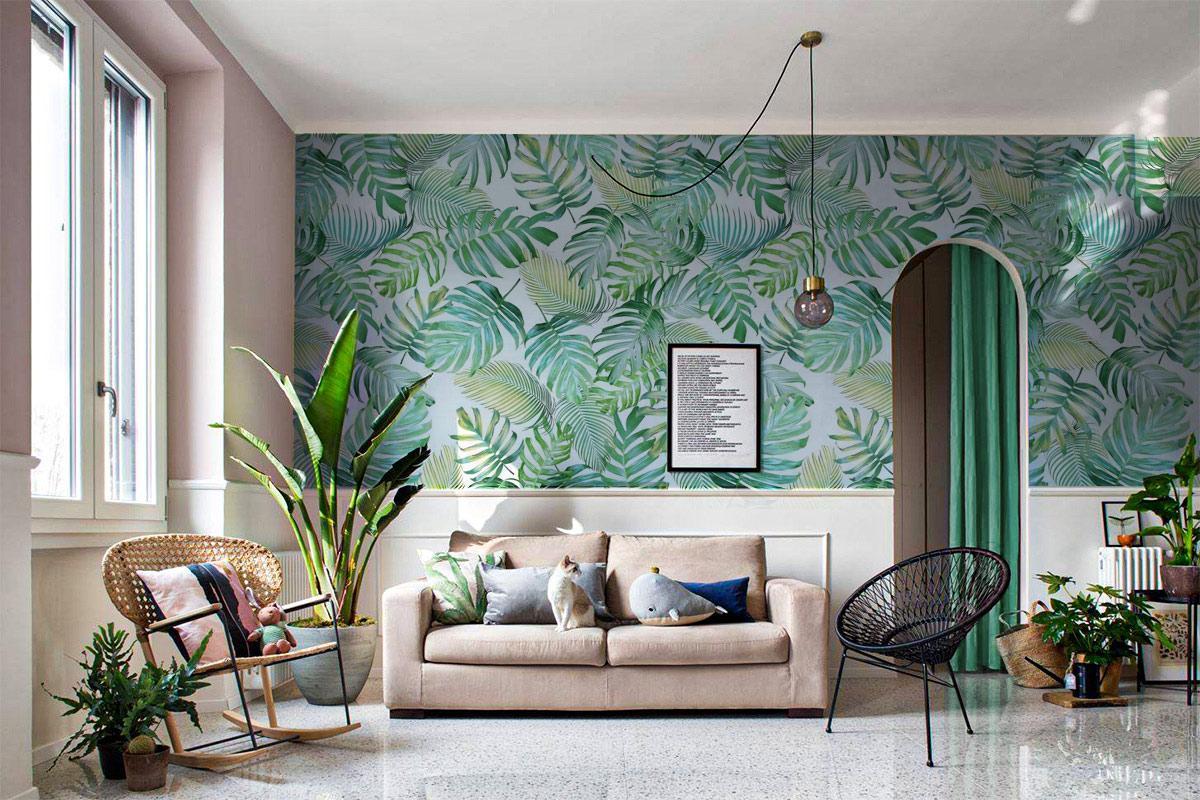 không gian nội thất căn hộ 2 phòng ngủ phong cách tropical tươi mát