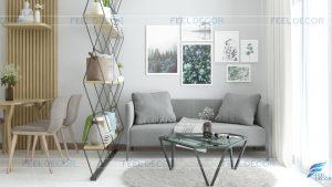 Thiết kế nội thất phòng khách - bếp căn hộ 51m2 chung cư Vinhomes Central Park