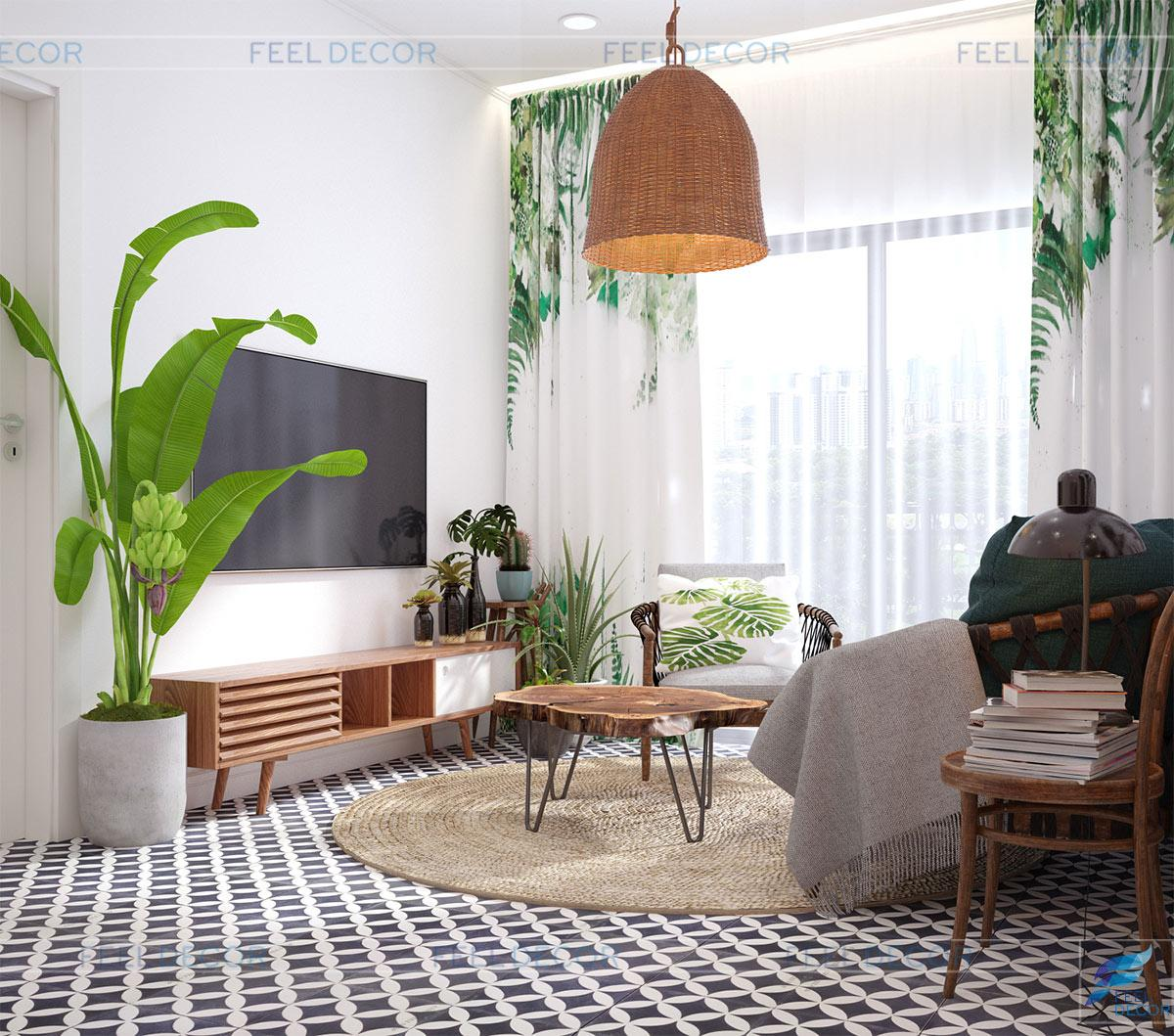 kế thi công nội thất căn hộ 53m2 2 phòng ngủ chung cư Florita
