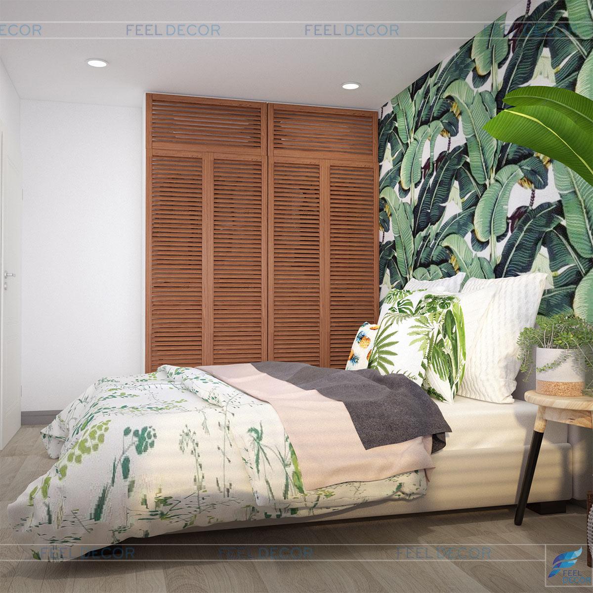 Thiết kế nội thất phòng ngủ Master căn hộ 53m2 2 phòng ngủ chung cư Florita