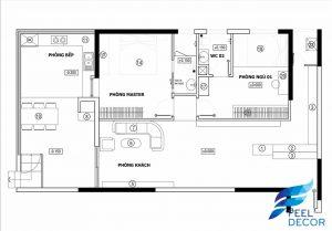 Hình ảnh mặt bằng bố trí nội thất căn hộ 2 phòng ngủ 110m2 của chị ở chung cư Sky Garden.