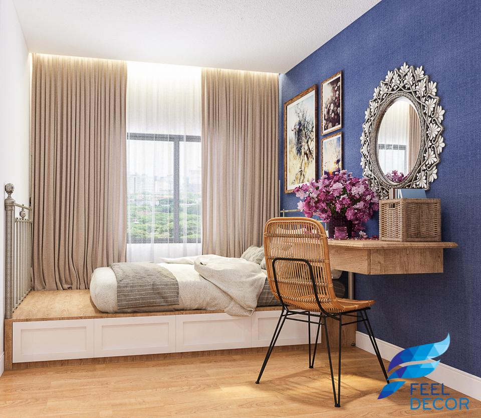 Hình ảnh mẫu thiết kế nội thất căn hộ 2 phòng ngủ 110m2 của chị ở chung cư Sky Garden.