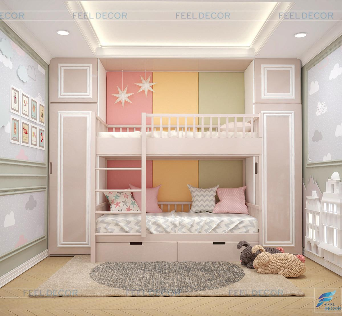 Thiết kế và thi công nội thất căn hộ 100m2 (3PN) chung cư Sky Center – FD1118