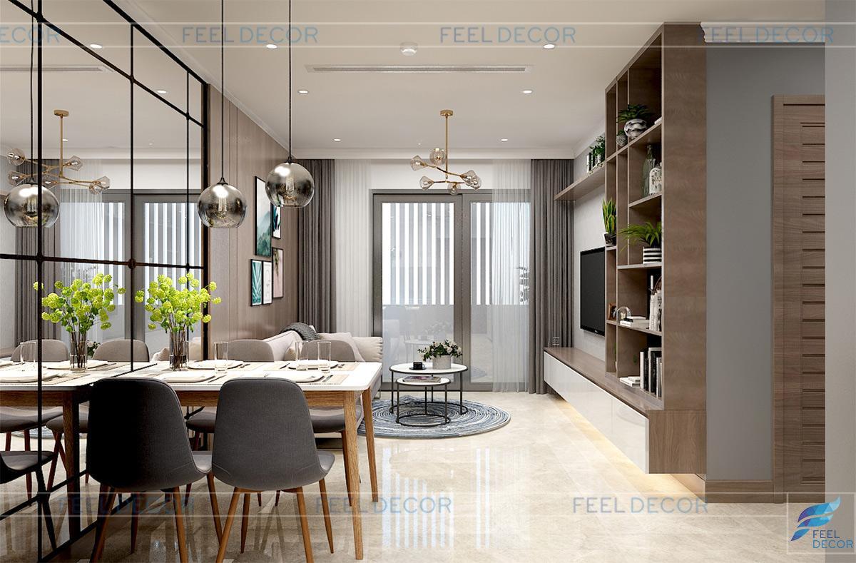 Thiết kế nội thất phòng khách căn hộ 51m2 chung cư Vinhomes Golden River