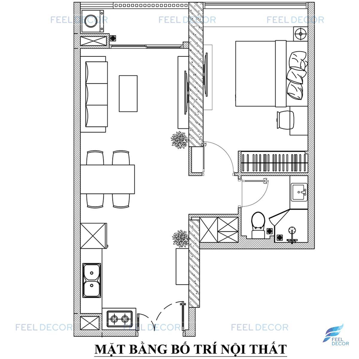 Mặt bằng thiết kế nội thất căn hộ 51m2