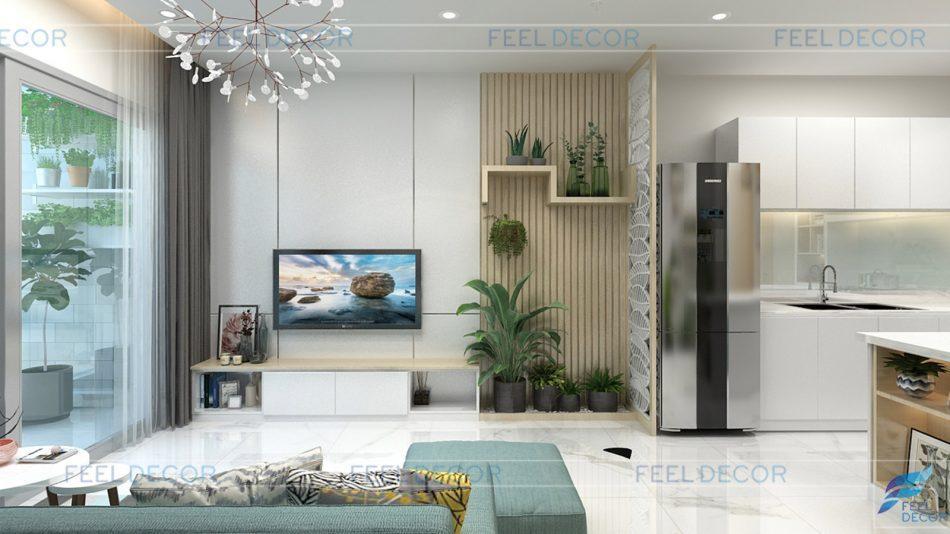 thiết kế nội thất căn hộ 56m2 chung cư skyline
