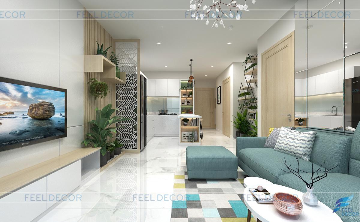Thiết kế nội thất phòng khách căn hộ 56m2 chung cư Skyline