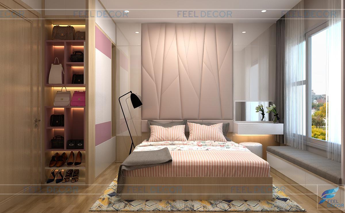 Thiết kế nội thất phòng ngủ Master căn hộ 56m2 chung cư Skyline
