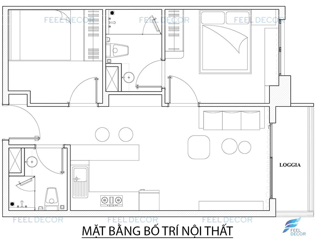 Thiết kế thi công nội thất căn hộ 56m2 (2PN) chung cư Skyline