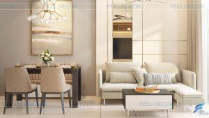 Thiết kế thi công nội thất phòng khách - bếp căn hộ 66m2
