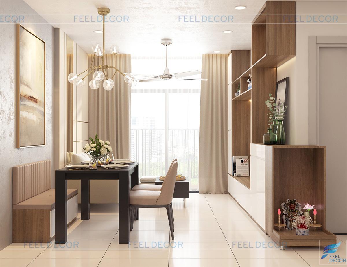 Thiết kế thi công nội thất phòng khách căn hộ 65m2