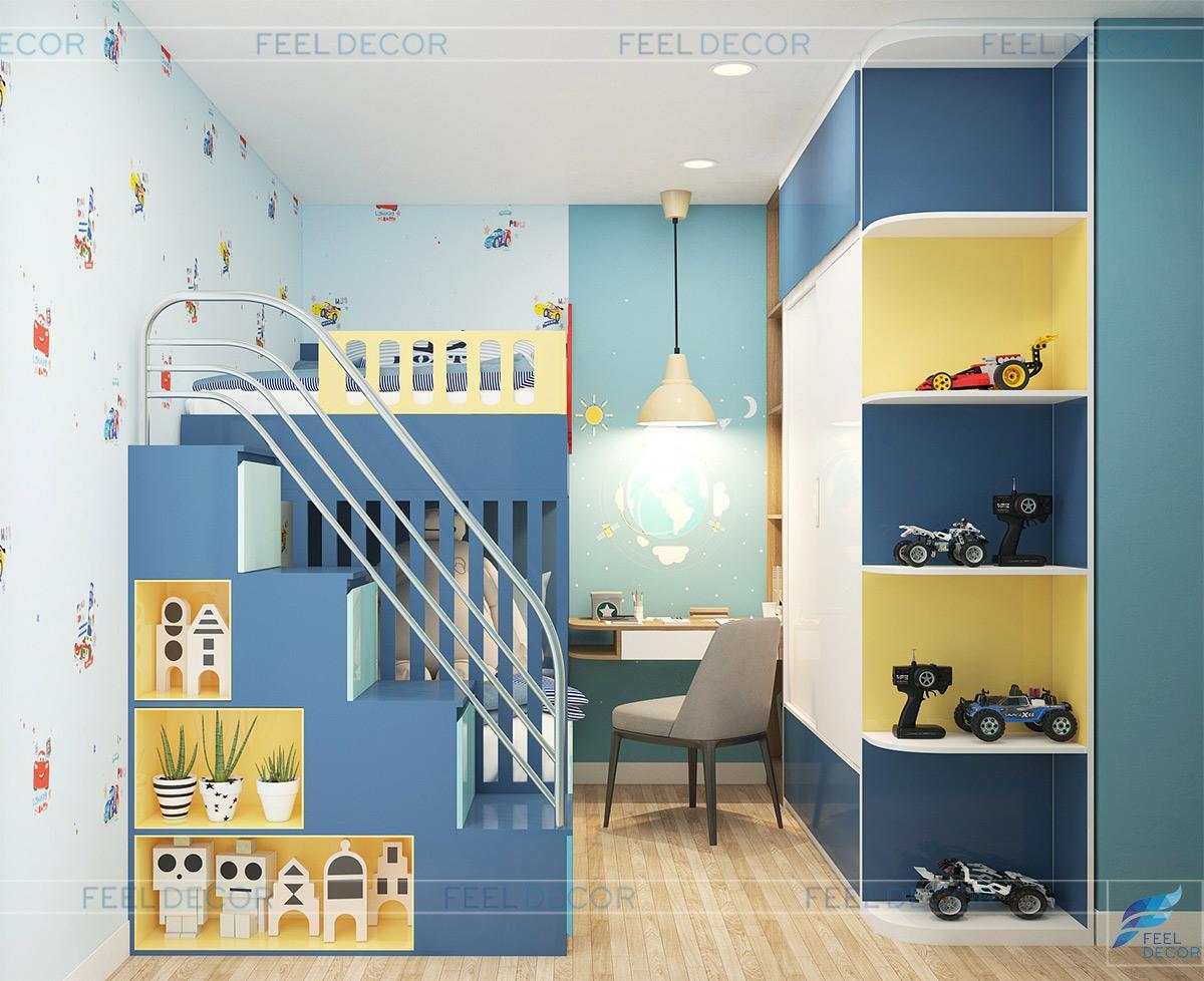 Thiết kế nội thất căn hộ 65m2 có phòng ngủ cho bé trai