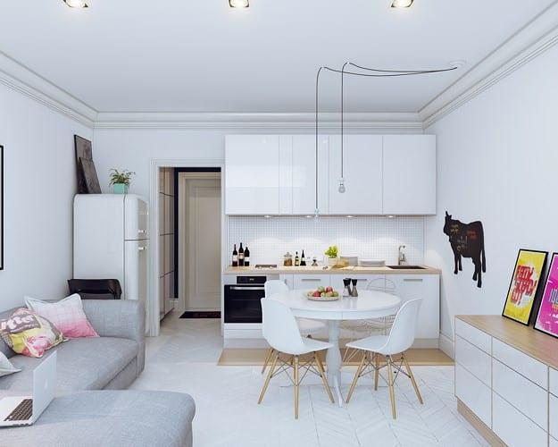Chọn nội thất và sơn tường màu trắng nhằm tăng chiều rộng và chiều sâu cho không gian