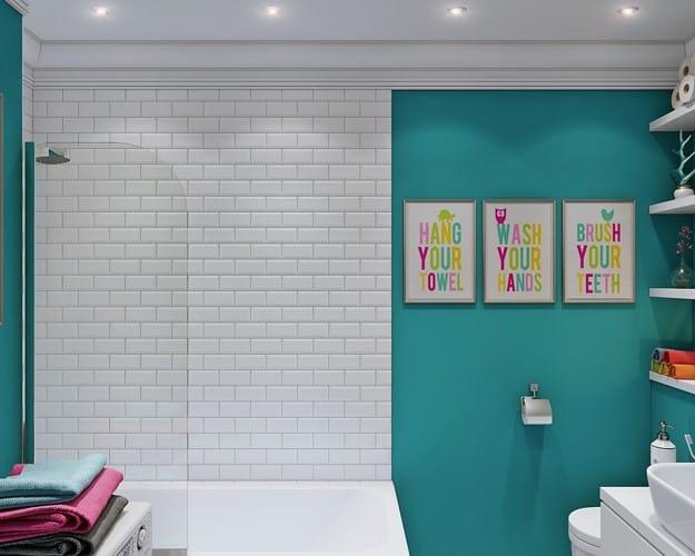 Tường nhà tắm chọn lối trang trí tương phản