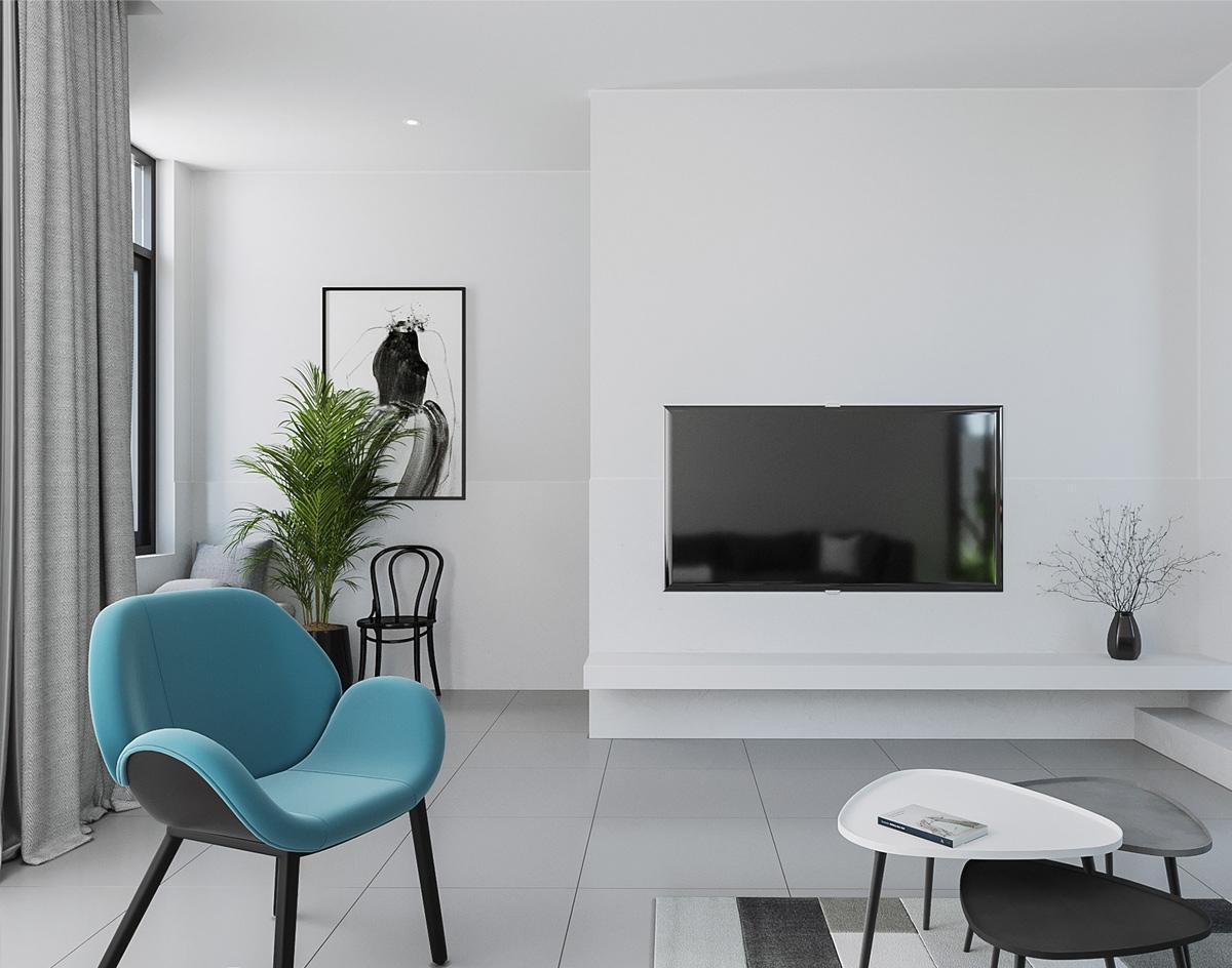 Thiết kế nội thất phòng khách nhà 1 tầng 30m2