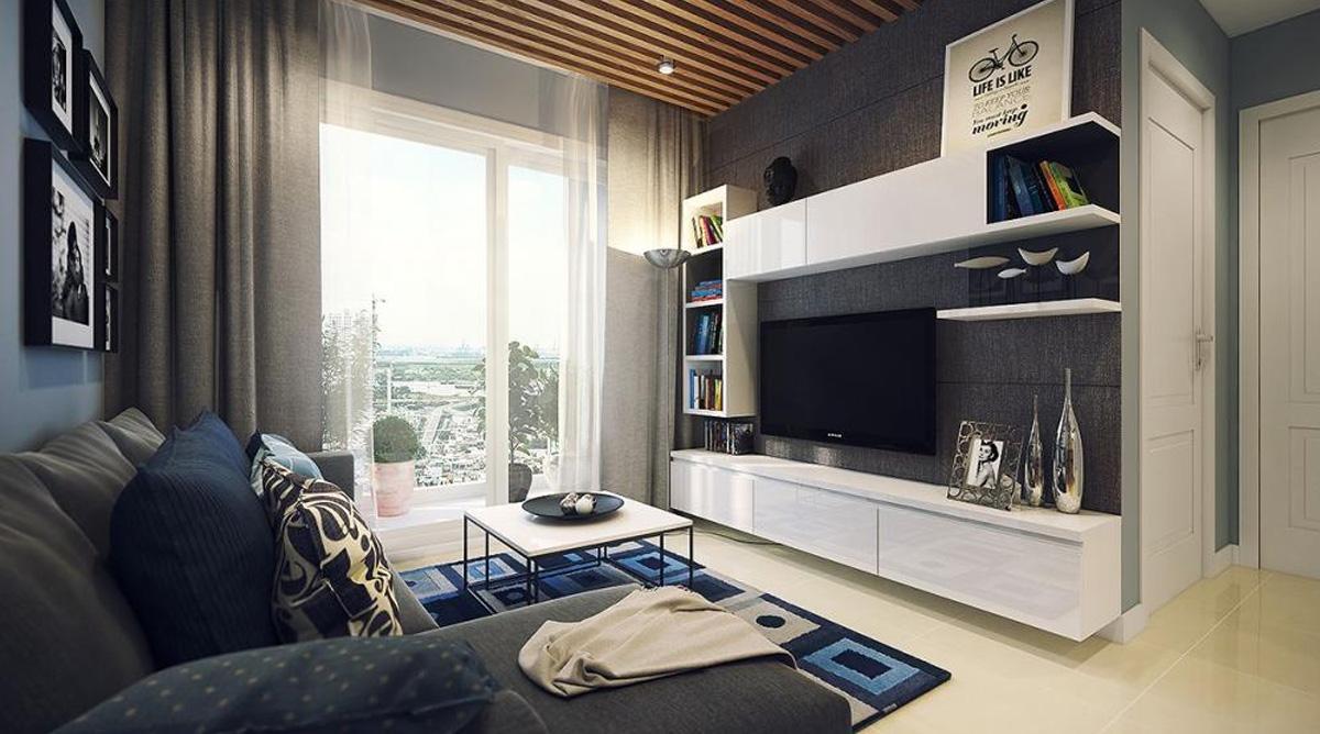 Thiết kế nội thất phòng khách căn hộ 66m2