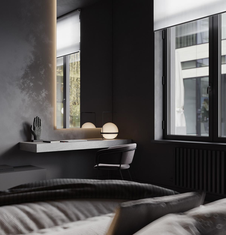 Thiết kế nội thất phòng ngủ phụ màu đen