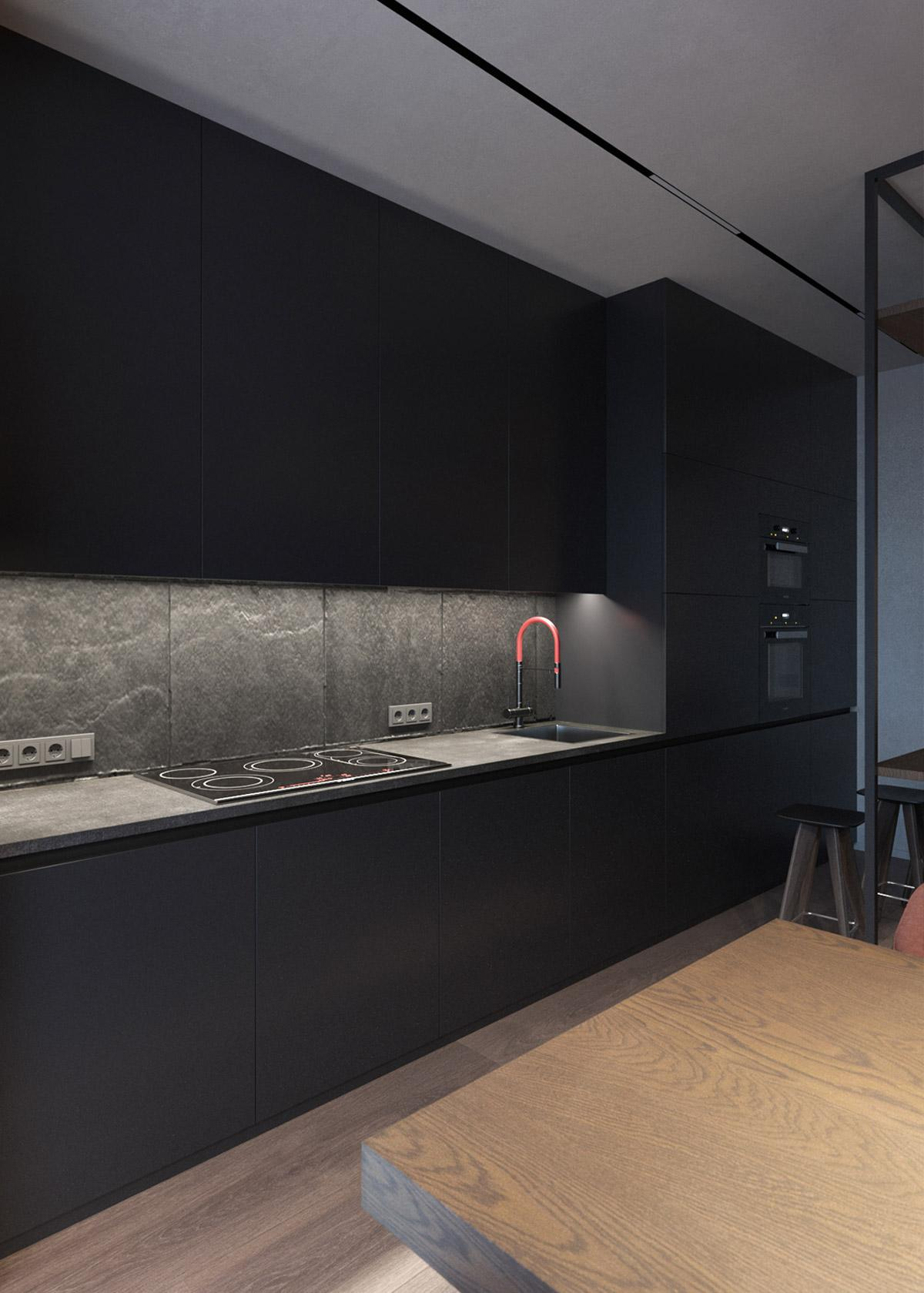 nội thất phòng bếp màu đen