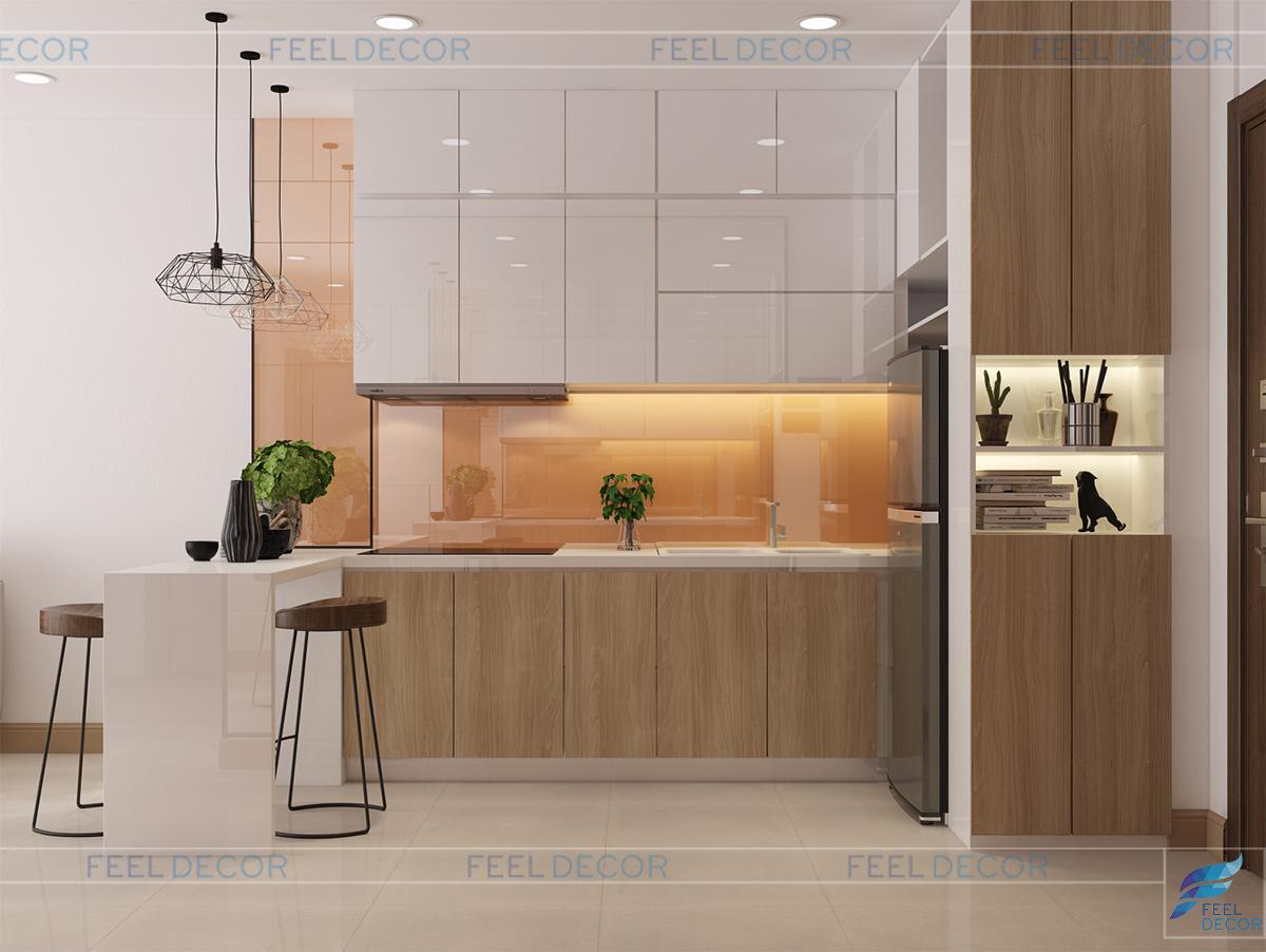 Thiết kế nội thất phòng bếp căn hộ 60m2 chung cư Millennium Masteri
