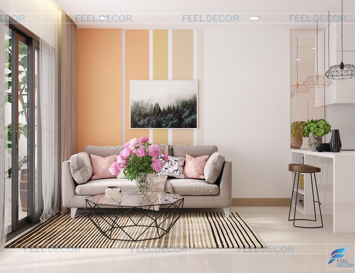 Thiết kế nội thất phòng khách căn hộ 60m2 chung cư Millennium Masteri