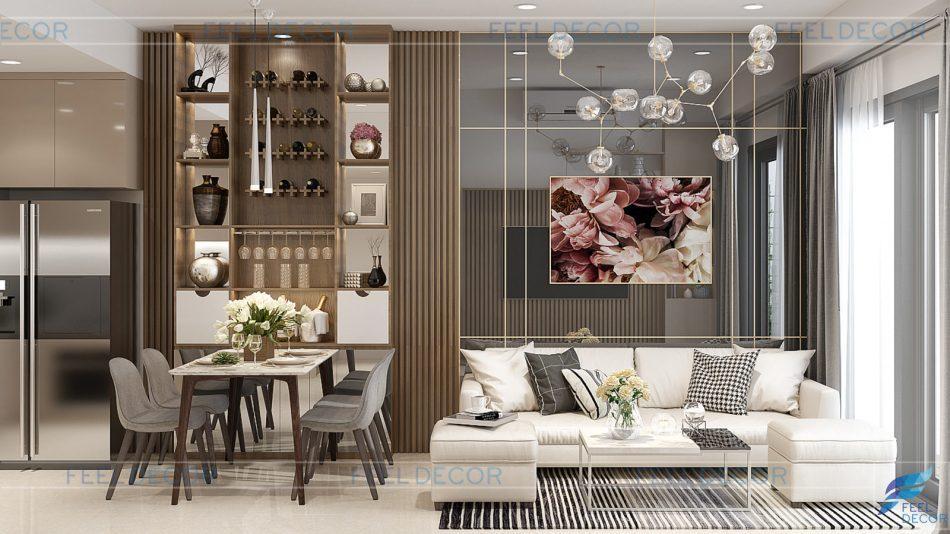 nội thất căn hộ 76m2 chung cư The Sun Avenue