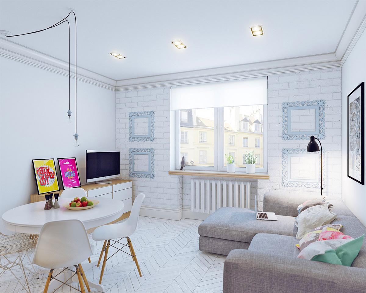 Thiết kế nội thất phòng khách căn hộ 25m2