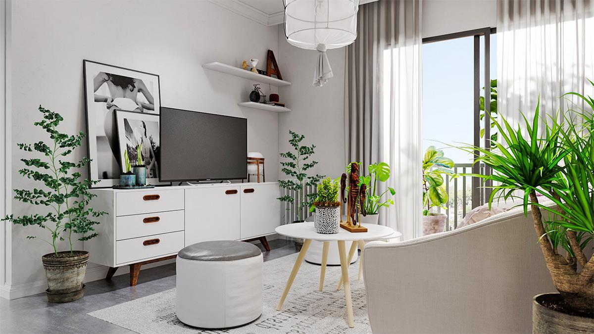 Trang trí phòng khách mang hơi thở nhiệt đới