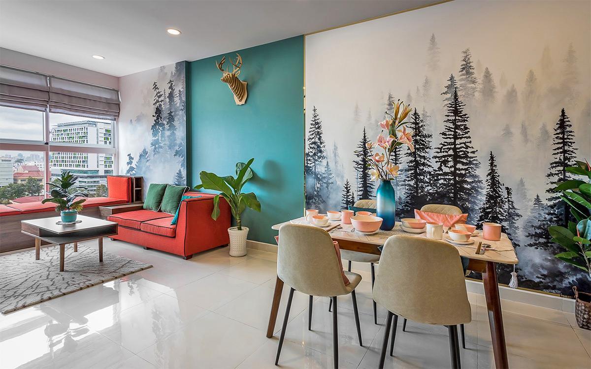 Thiết kế nội thất phòng khách căn hộ 3 phòng ngủ