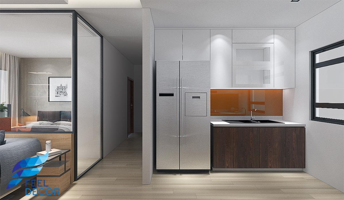 Thiết kế nội thất phòng bếp căn hộ 79m2chung cư The Sun Avenue