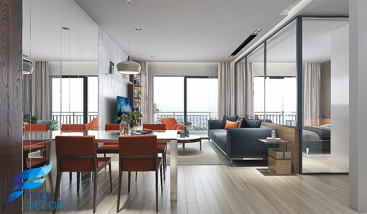 nội thất căn hộ 79m2 chung cư The Sun Avenue