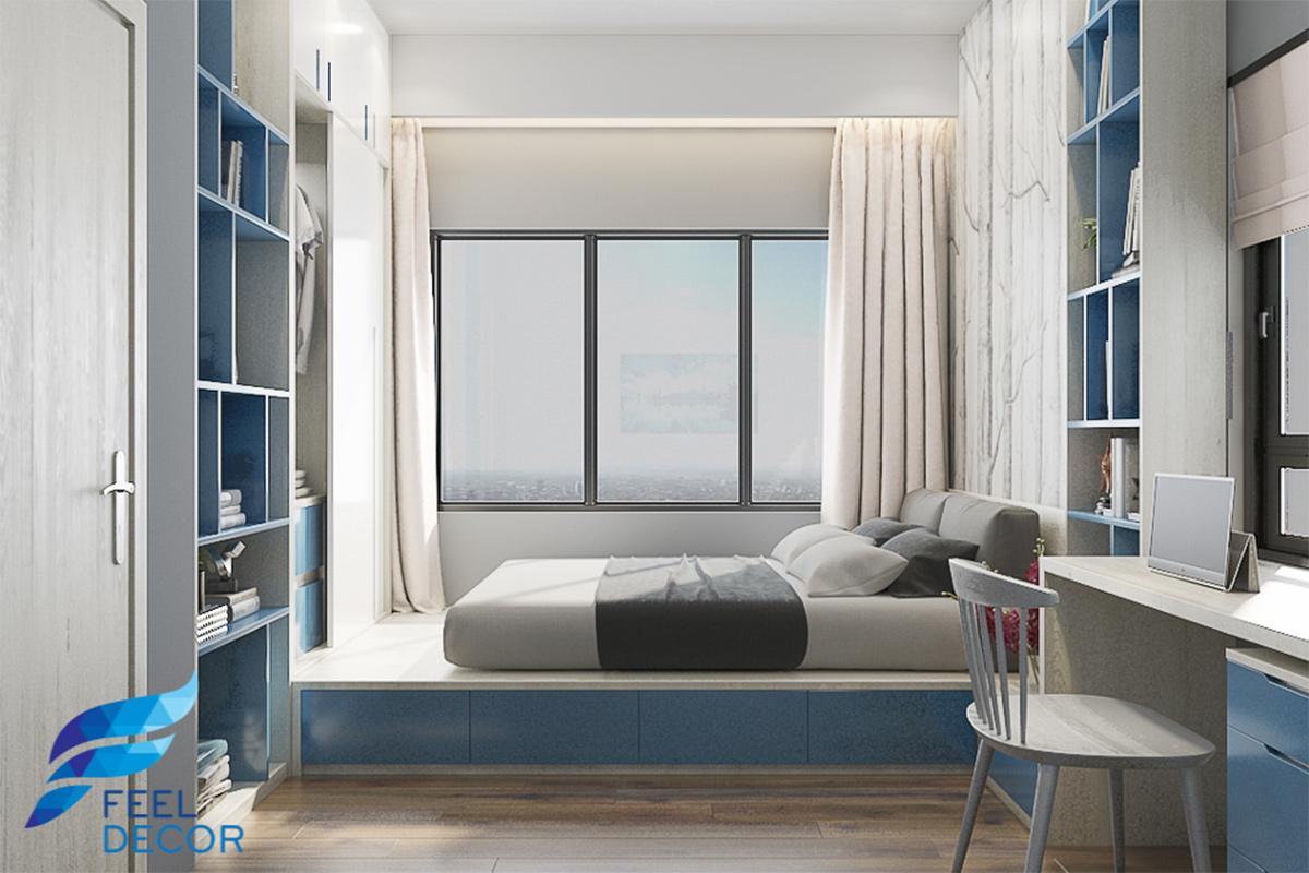thiết kế nội thất phòng ngủ căn hộ 79m2 chung cư The Sun Avenue