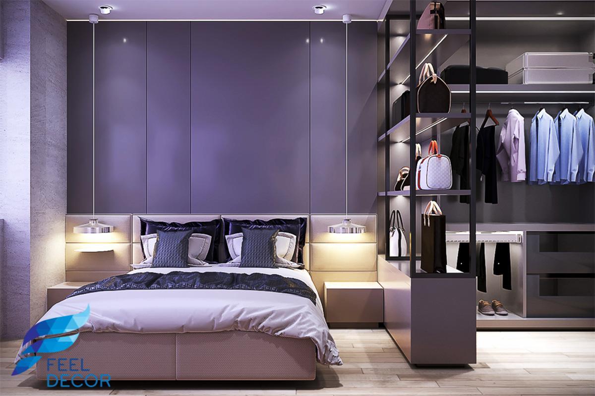 Thiết kế thi công nội thất phòng ngủ Master sang trọng căn hộ 2 phòng ngủ