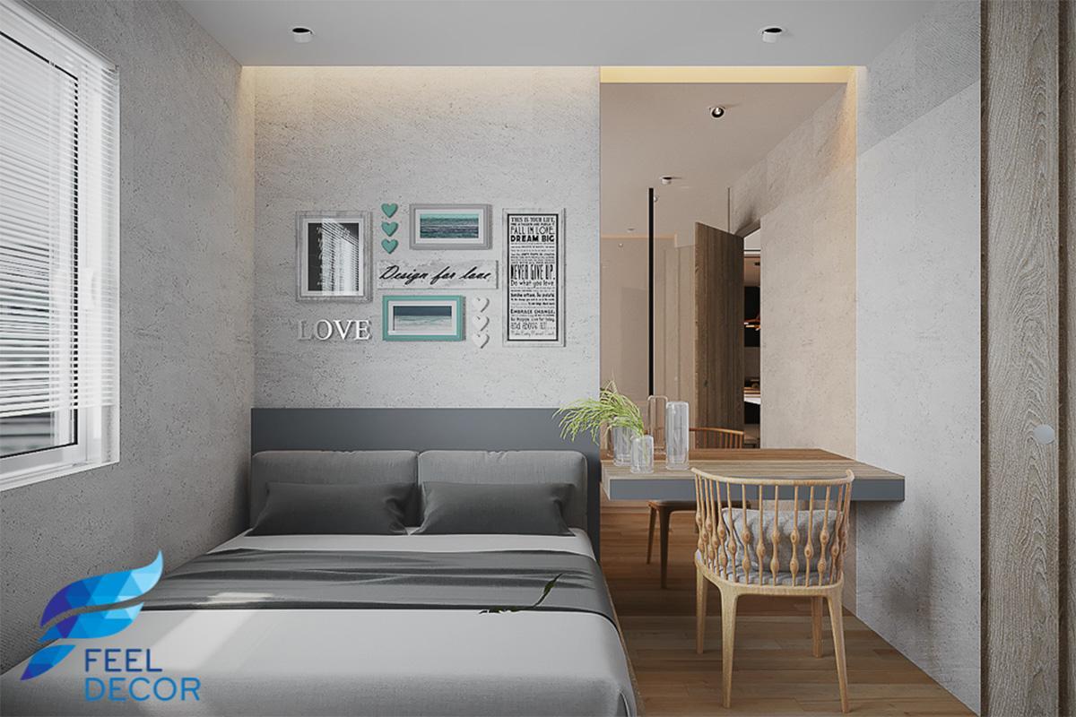 Thiết kế thi công nội thất phòng khách căn hộ 2 phòng ngủ chung cư Valeo Residence