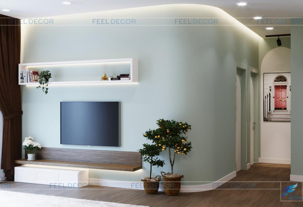 Thiết kế thi công nội thất phòng khách căn hộ 75m2