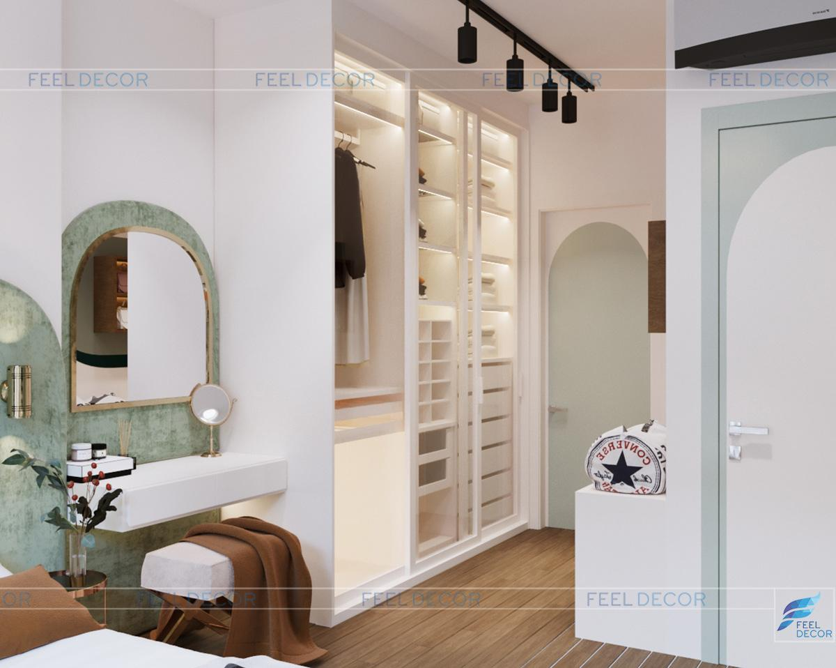 Thiết kế thi công nội thất phòng ngủ Master căn hộ 75m2 chung cư Golden Mansion