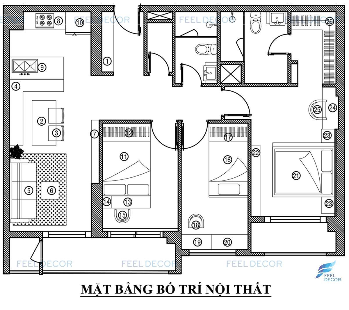 Thiết kế thi công nội thất căn hộ 3 phòng ngủ (103m2) CC Golden Mansion – NovaLand