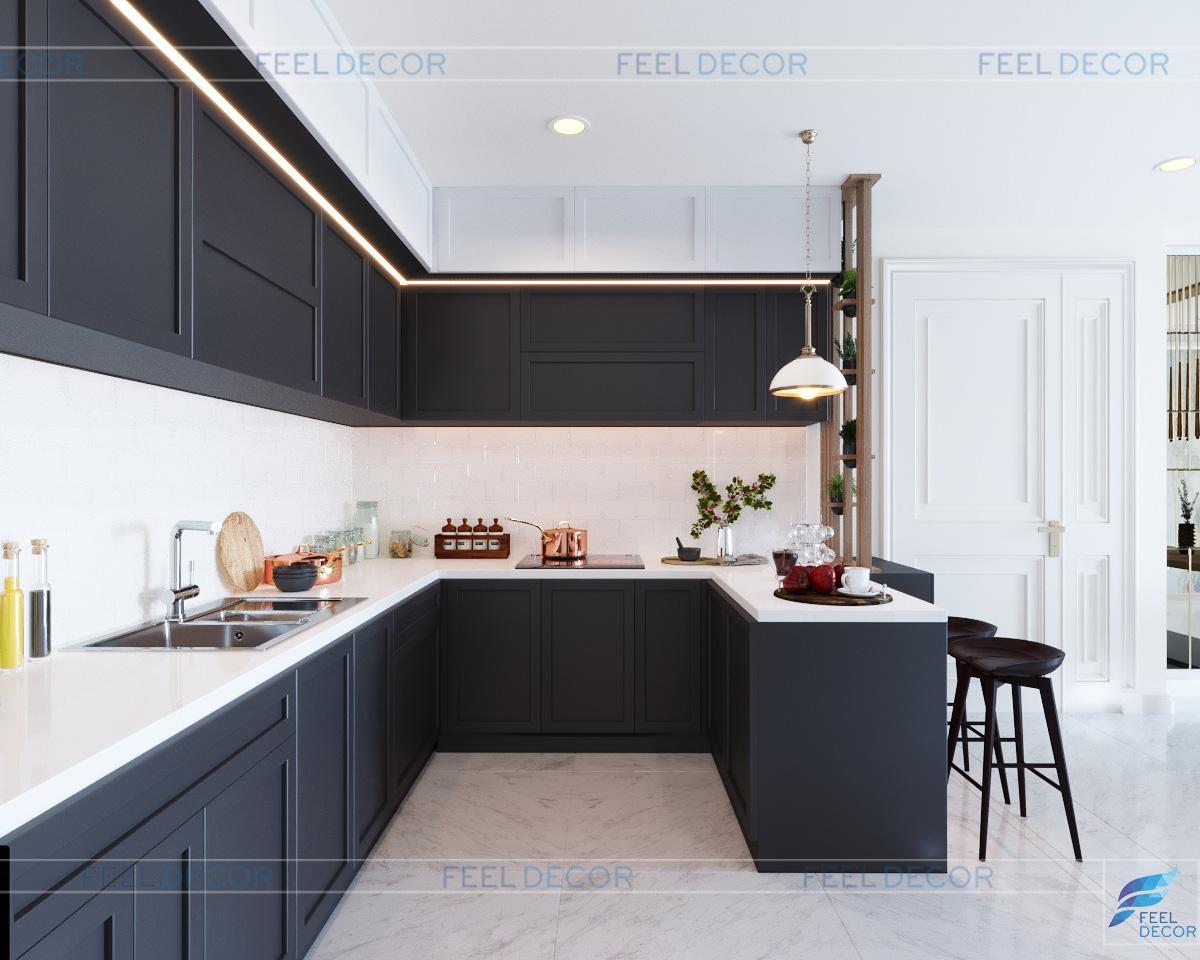 Thiết kế không gian bếp nội thất căn hộ 103m2