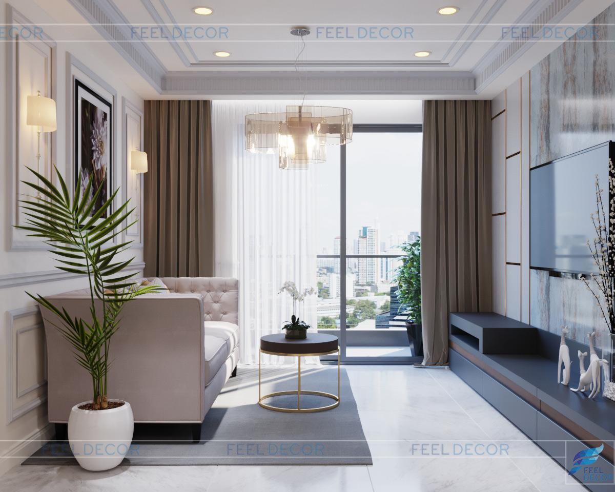 Thiết kế thi công bán cổ điển nội thất căn hộ 103m2