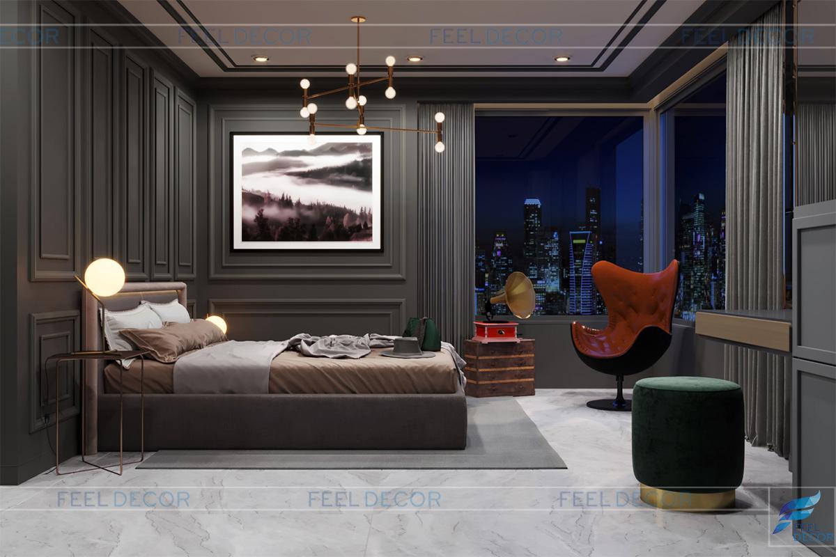 Phòng ngủ Master căn hộthiết kế bán cổ điển